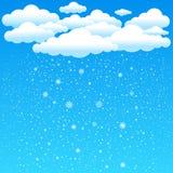 Cartoon clouds snow falls Stock Image