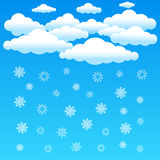 Cartoon clouds and snowflake Stock Image