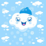 Cartoon clouds snowing. Vector cartoon illustration of clouds snowing at the sky Royalty Free Stock Image