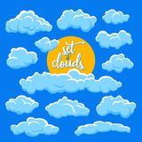 Cartoon clouds and sun vector illustration