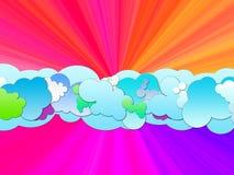 Cartoon Clouds at Sunset. Beautiful blue clounds on pinkish-purple background Stock Photos