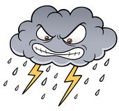 Cartoon Clouds with Thunder. Vector illustration of Cartoon Clouds with Thunder Royalty Free Stock Images