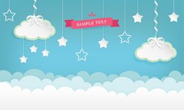 Cartoon cloudscape background with stars. Clouds with satin ribbon and bow. stock illustration