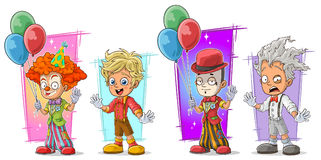 Cartoon clown with balloon character vector set Stock Image