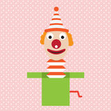 Cartoon clown in box jester april flat Royalty Free Stock Image