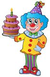 Cartoon clown with cake Stock Photo