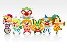 Cartoon clown card. Drawing Stock Illustration