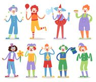 Cartoon clown character funny circus man clownery colorful friendly costume male clownish artist vector illustration. Comic joker face comedian performer vector illustration