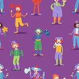 Cartoon clown character funny circus man clownery colorful friendly costume male clownish artist vector illustration Royalty Free Stock Photography