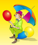 Cartoon clown. With color ball Stock Image