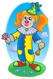 Cartoon clown girl on meadow Stock Photography
