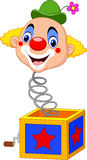 Cartoon clown head coming out of the box Royalty Free Stock Photography