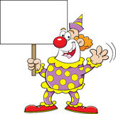 Cartoon clown holding a sign Stock Photography
