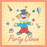 Cartoon Clown and party elements colored hand drawn sketch Stock Photos