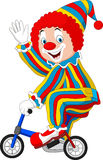 Cartoon clown riding bicycle. Illustration of Cartoon clown riding bicycle Stock Image