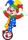 Cartoon clown riding one wheel bike Stock Photography