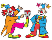 Cartoon clowns. Cartoon illustration of funny clowns Royalty Free Stock Photo