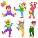Cartoon clowns collection. Colorful set of cartoon happy clowns in different poses stock illustration