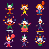 Cartoon Clowns Vector Illustration Set Royalty Free Stock Photography