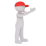 Cartoon Coach in Red Cap and Blowing Whistle. 3d Rendering of Cartoon Figure Wearing Red Cap and Blowing Whistle on String Around Neck in front of White Stock Photography
