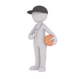 Cartoon Coach with Whistle and Basketball Royalty Free Stock Images