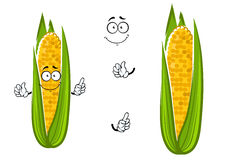 Cartoon cob of juicy sweet corn vegetable. Character with bright yellow kernels, for healthy vegetarian food theme design Royalty Free Stock Photography