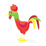 Cartoon cock-a-doodle-doo. Flat vector illustration. Rooster isolated on white Stock Images