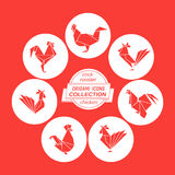 Cartoon cock icon set Royalty Free Stock Images