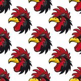 Cartoon cock or rooster seamless pattern Stock Photo