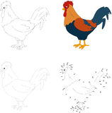Cartoon cock. Vector illustration. Dot to dot game for kids Stock Photos