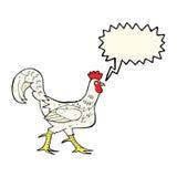 cartoon cockerel with speech bubble Stock Photography