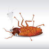 Cartoon cockroach dead Royalty Free Stock Image