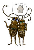 Cartoon cockroach family