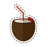 Cartoon cocktail coconut cherry fresh Stock Image