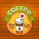 Cartoon coffee badge. coffee vector illustration Stock Photo