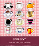 Cartoon coffee card. Drawing Royalty Free Stock Image