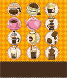 Cartoon coffee card Royalty Free Stock Photo