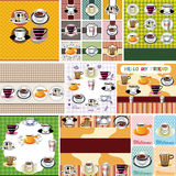 Cartoon coffee card Stock Photography