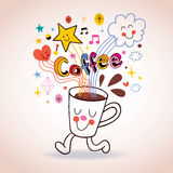 Cartoon coffee cup cute character Stock Photography