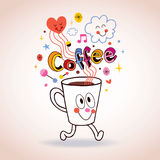 Cartoon coffee cup illustration Stock Photo