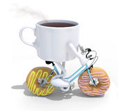 Cartoon coffee cup riding bicycle with donuts instead wheels Stock Photos