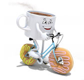 Cartoon coffee cup riding bicycle with donuts instead wheels Stock Image