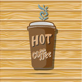 Cartoon coffee cup. Take away. Vector flat  illustration Royalty Free Stock Photography