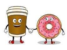 Coffee cup and donut pop art vector. Cartoon coffee and donut holding hands pop art retro vector illustration. Cartoon character. Isolated image on white Stock Photos