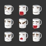 Cartoon Coffee Mug Emotion Face Vector Stock Photo