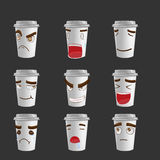 Cartoon Coffee Mug Emotion Face Vector Royalty Free Stock Images