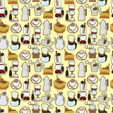 Cartoon coffee seamless pattern Stock Image