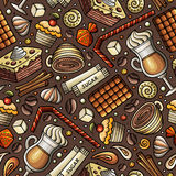 Cartoon coffee shop seamless pattern. Cartoon coffee, coffee shop, cafe, tea, sweets seamless pattern. Lots of symbols, objects and elements. Perfect funny Stock Image