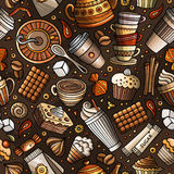 Cartoon coffee shop seamless pattern. Cartoon coffee, coffee shop, cafe, tea, sweets seamless pattern. Lots of symbols, objects and elements. Perfect funny Royalty Free Stock Photo