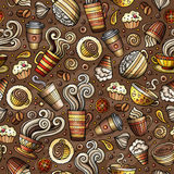 Cartoon coffee shop seamless pattern. Cartoon coffee, coffee shop, cafe, tea, sweets seamless pattern. Lots of symbols, objects and elements. Perfect funny Stock Images